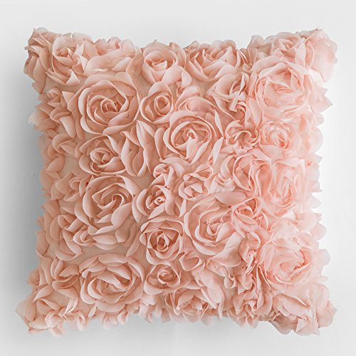 MIULEE 3D Decorative Romantic Stereo Chiffon Rose Flower Pillow Cover Solid Square Pillowcase for Sofa Bedroom Car 18x18 Inch 45x45 cm Peach Pink (Pillow Throw Rose Pink)