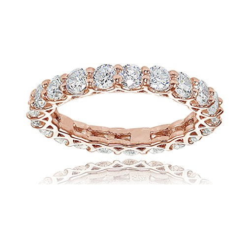 (Hoops & Loops Rose Gold Flashed Sterling Silver Cubic Zirconia 3mm Round-Cut Eternity Band Ring)
