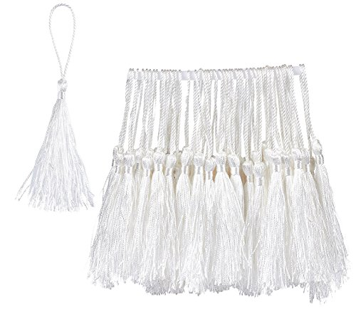 Bookmark Tassels - 150-Pack Silky Floss Tassel Pendant with 2.3-inch Cord Loop - Ideal for Handmade Craft Accessory, DIY Jewelry Making, Home Decoration, Souvenir - White, 0.1 x 5.4 x 0.1 inches
