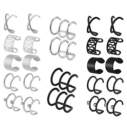 - HOVEOX 12 Pairs Earrings Set Cuff Helix Cartilage Clip Stainless Steel on Ears Non Piercing Adjustable 6 Various Styles Silver and Black for Women Girls (Silver)