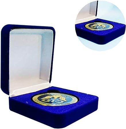 Caja expositora de monedas para medallas, collares, pendientes, joyas, caja de regalo de terciopelo, caja de