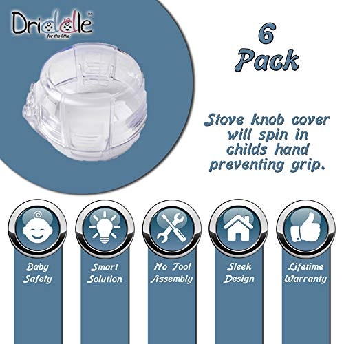 Clear Stove Knob Safety Covers - 6-Pack - Protect Little Kids with A Child Proof Lock for Oven/Stove Top/Gas Range - Baby/Toddler Kitchen Safety Guard - Diddle