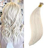 Ugeat 16inch 1g/Strand 50 Gram Nano Beads Remy Human Hair Extensions Lightest Blonde #60 Remy Human Hair Extensions Silky Straight Nano Rings Extention Remy Human Hair Nano Loop Bead Hair Extensions