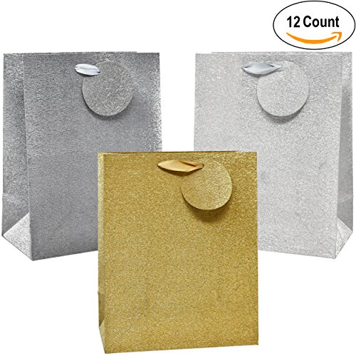 Striped Gift Tags (12 Medium Gift Bags Gold & Silver Shiny Metallic Glitter With Ribbon Handles for Wedding Gifts Baby Shower Bar Mitzvah Birthday Presents Gift Wrapping Graduation Celebration With Tags by Gift Boutique)