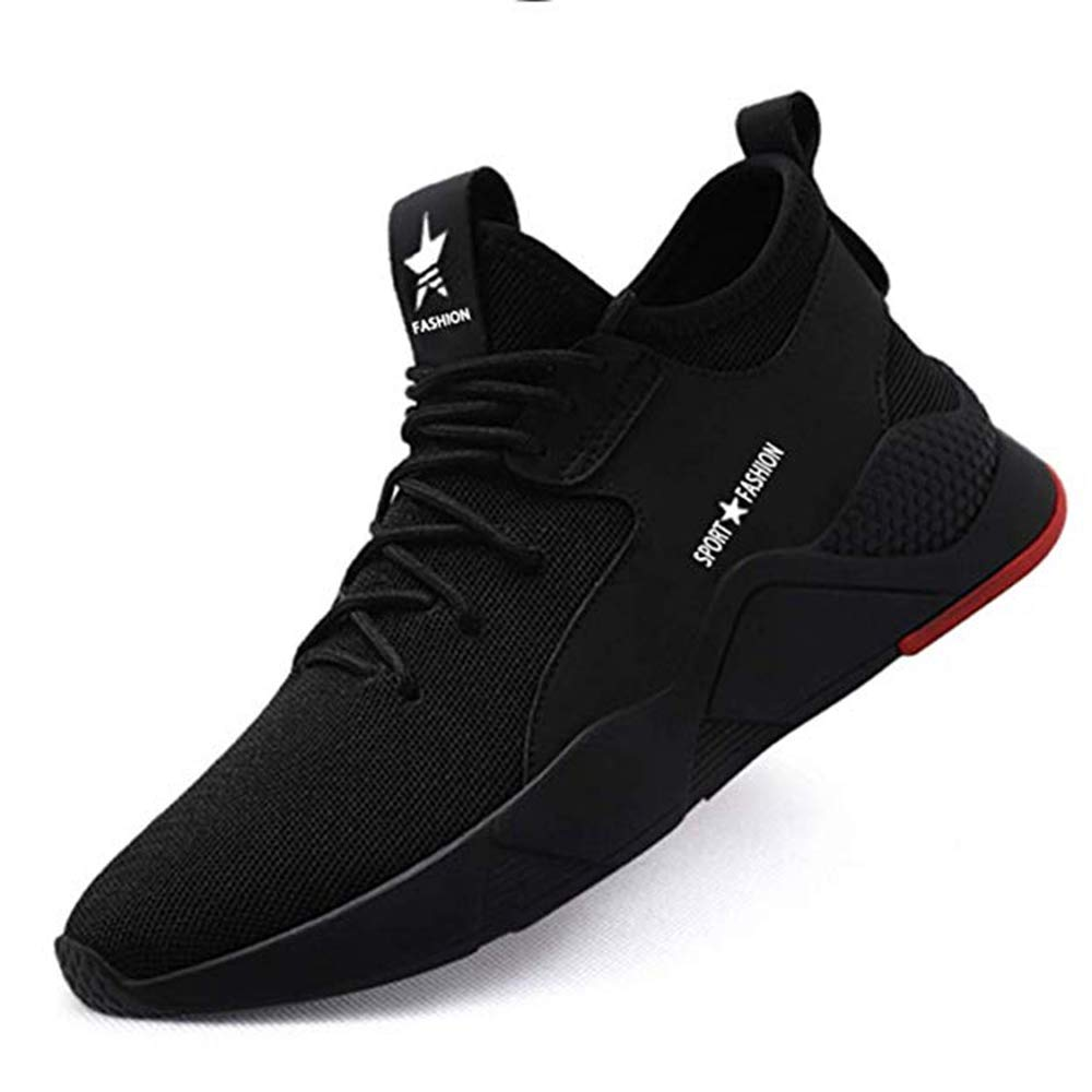 KINGLEN Breathable Industrial Construction Steel Toe Work Shoes for Men Womens,Summer Puncture Proof Safety Sneakers (10.5 Women / 8.5 Men, Black/A1)
