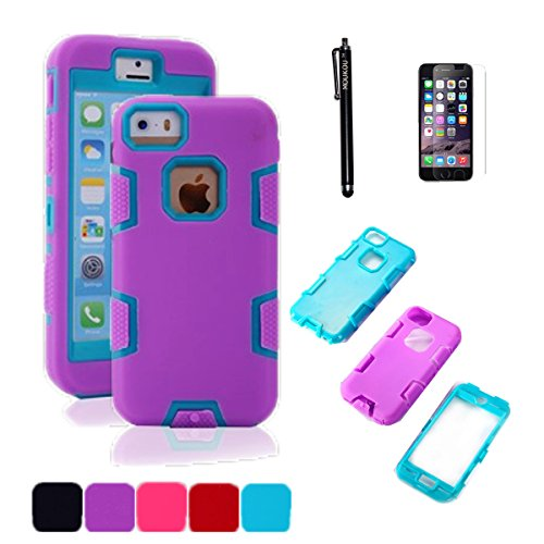 iPhone 5C Case MOUKOU(TM) 3in1 Hybrid Case Silicone Skin with PC Plastic for iphone 5C