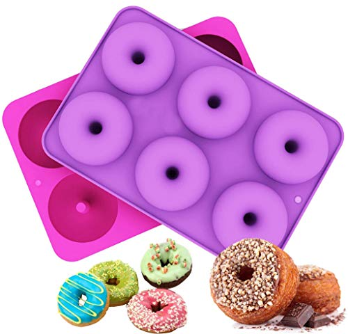 Amaping 2-Pack Donut Baking Pan, Non-Stick Donut Mold Silicone Baking Tools Molds for Donuts Candy Chocolate Fondant - Dishwasher, Oven, Microwave, Freezer Safe (6 Cavity, Purple+ Hot Pink)