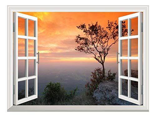 Removable Wall Sticker Wall Mural Sunset Scene with Orange Sky Over Mountain Creative Window View Wall Decor