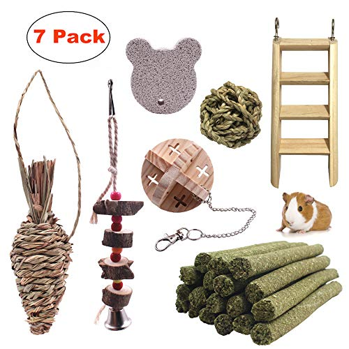 JanYoo Chinchilla Toys Guinea Pig Accessories Bunny Chew Sticks Wooden Ball for Rabbits Hamster Gerbil Rat Pack of ()