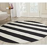 Safavieh Montauk Collection MTK712D Handmade Flatweave Black and Ivory Cotton Round Area Rug (4 Diameter)