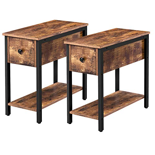 HOOBRO Set of 2 Narrow End Table, 2-Tier Nightstand with Drawer and Shelf, Side Table for Small Spaces, Stable and…