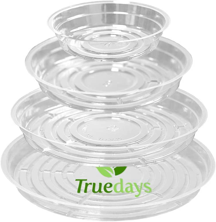TRUEDAYS 12 Inch 10 Pack Clear Plant Saucers Flower Pot Tray Excellent for In...