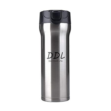 Dot Dot Life Botella Agua 500 ML Aislada al Vac/ío de Acero Inoxidable Aislamiento Termo Botella Vac/ío para Mantener Sus Bebidas Caliente y Fr/ía Plata 17 Oz