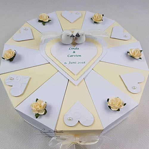 Hochzeitsgeschenk Schachteltorte Creme Weiss M Herzen Rosen