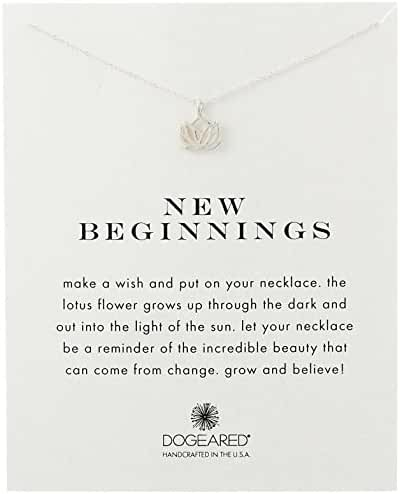 Dogeared Reminder New Beginnings Sterling Silver Rising Lotus Pendant Necklace, 18.4