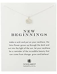 """Dogeared Reminder New Beginnings Sterling Silver Rising Lotus Pendant Necklace, 18.4"""""""