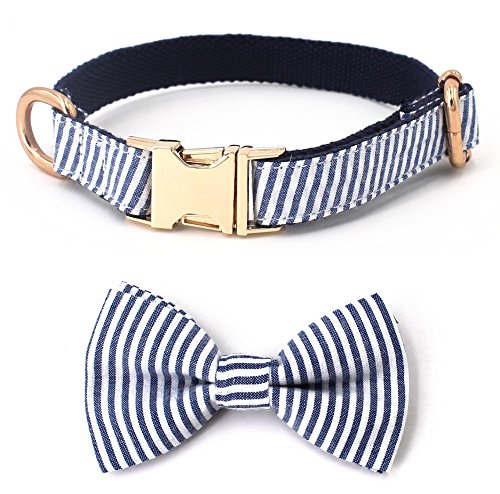 Free Sunday Blue Stripe Seersucker Dog Bow Tie Dog Collar for Small Dog, Medium Dog, Large Dog (Bowtie Collar, M(12''-18'' Length))