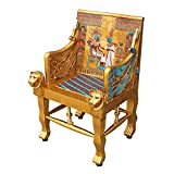 Design Toscano King Tutankhamen Egyptian Decor Throne Chair Furniture, 41 Inch, Fiberglass Polyresin, Full Color For Sale