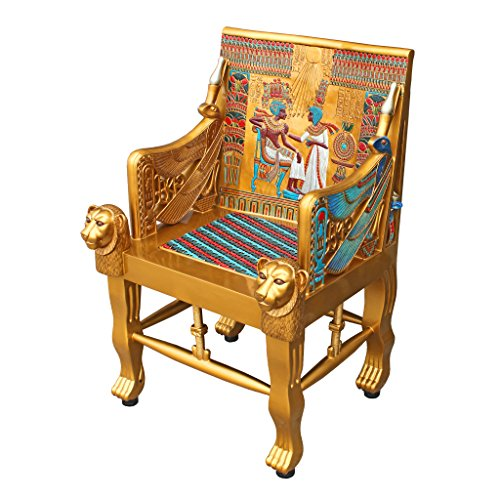 Design Toscano King Tutankhamen Egyptian Decor Throne Chair Furniture, 41 Inch, Fiberglass Polyresin, Full Color ()