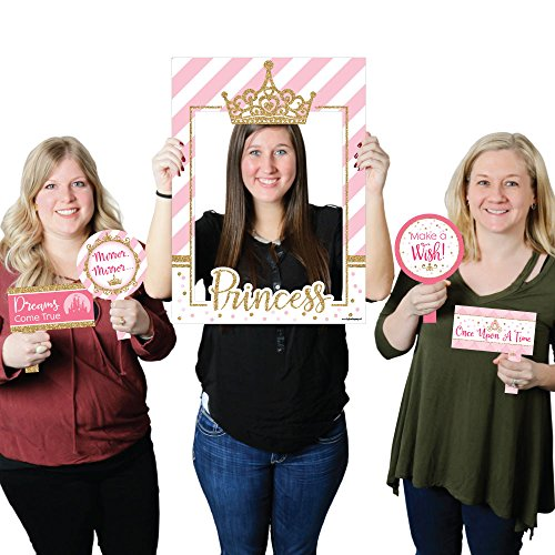 (Big Dot of Happiness Little Princess Crown - Pink and Gold Princess Baby Shower or Birthday Party Selfie Photo Booth Picture Frame & Props - Printed on Sturdy Material)