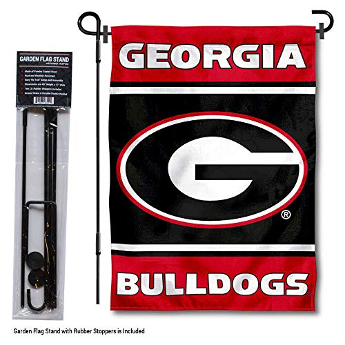 (College Flags and Banners Co. Georgia Bulldogs Garden Flag with Stand Holder)