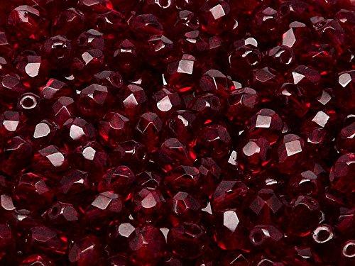 50pcs Fire-Polished Beads - Czech Faceted Glass Beads, Round 6mm,Dark Ruby (Garnet) Jablonex