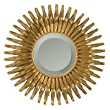 Global Views Small Round Gold Leaf Sunburst Mirror