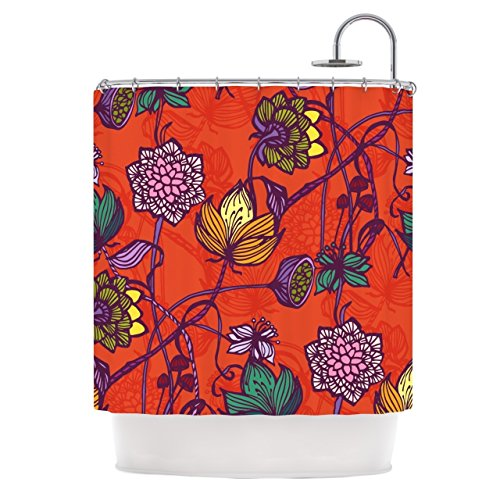 1 Piece 69''x70'' Girls Garden Blooms Flowers Themed Shower Curtain, All Over Stylish Nature Love Bohemian Blossom Floral Print Bathtub Curtain, Abstract Vibrant Colors Orange Pink Purple, Polyester by SE