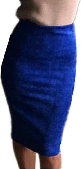 Falda Señoras Glamour Falda Color Wrap Sólido Falda Lápiz ...