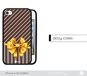 Vintage Sideways Stripes with Bow White Stripes Phone iPhone 4 4s Rubber Silicone TPU Cell Phone Case