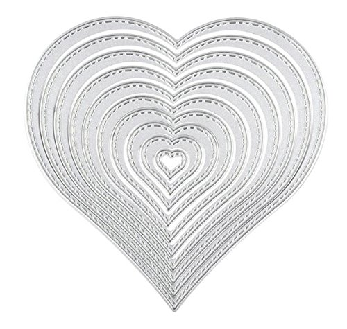Fyore Cutting Dies Stencil Template 10 Pcs Valentine's Day Heart Metal Dies Mould for DIY Scrapbooking Album Paper Card Embossing Craft Decoration(Heart)