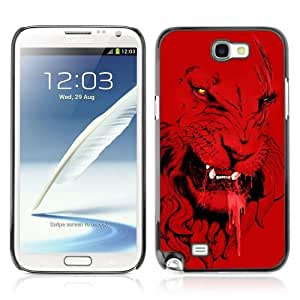 YOYOSHOP [Angry Red Lion Tiger Cat Illustration] Samsung Galaxy Note 2 Case