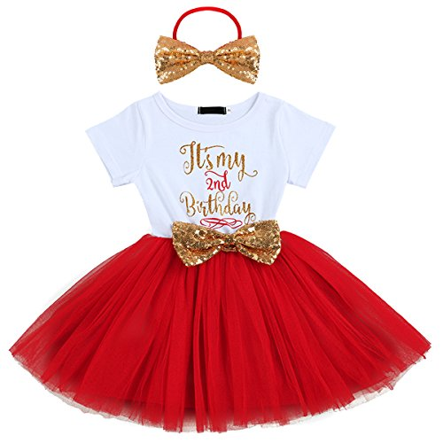 IBTOM CASTLE Kids Girl Princess It's My 1st/2nd Birthday Party Cake Smash Boutique Outfit Sequin Bow Tie Tulle Tutu Dress Clothes Gold Headband+Red(2 Years)]()
