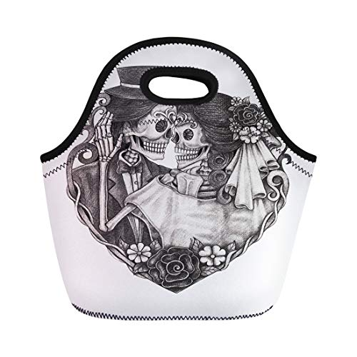 Semtomn Neoprene Lunch Tote Bag Day Skull on Dead Wedding Halloween Dia Catrina Love Reusable Cooler Bags Insulated Thermal Picnic Handbag for Travel,School,Outdoors,Work -