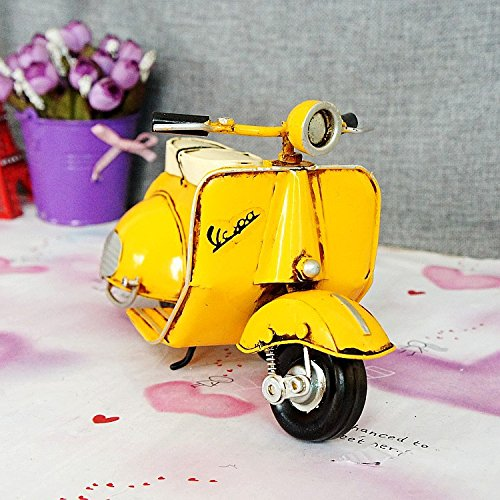 Pedale Metallo Moto Modello Retrò Anni ' 50 , giallo , 23913 Cm