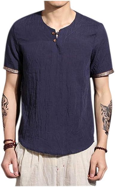 Xinvivion Camisa Hombre Blusa Suelta Casual Transpirable Top de Lino Camisas Sin Cuello de Color Sólido Blusas: Amazon.es: Ropa y accesorios