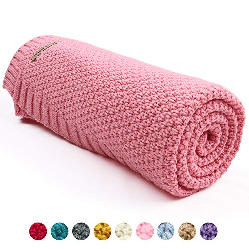 (mimixiong Baby Blanket Knit Toddler Blankets for Boys and Girls (Pink,40