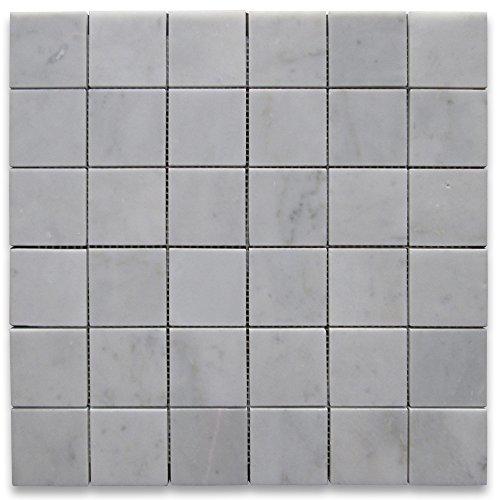 Square Marble Mosaic - Carrara White Italian Carrera Marble Square Mosaic Tile 2 x 2 Honed