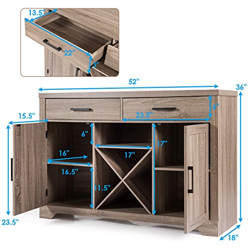 Giantex Buffet Cabinet Sideboard with Two Drawers Two Cabinets One Shelf and 4 Bottle Wine Rack Dining Room Home Furniture Console Storage Cabinet, Natural by Giantex (Image #7)
