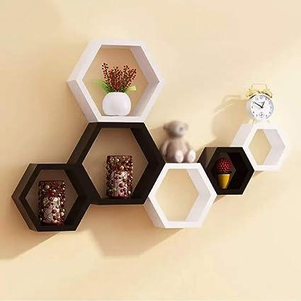amazon com willart hexagon wall shelf set of 6 white and black rh amazon com hexagon wall shelves kmart hexagon wall shelves ikea