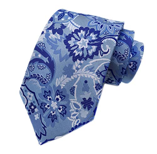 "Men Paisley Pattern Tie Blue Royal White Standard 3.15"" Width For Outfit Necktie"