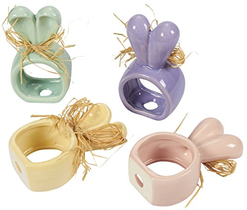 Pearl Paper Home Decor Stock Product India Napkin Rings: Set Of 4 Pastel Ceramic Napkin