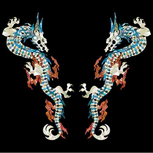 Inlay Sticker Decals for Guitar Bass - L&R Set Fire Dragon -