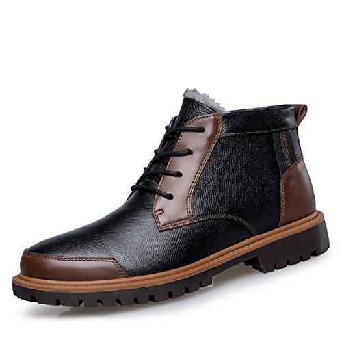 Herren- Freizeitschuhe Herbst Und Winter Warm Fügen Sie Baumwolle Lässig Lederstiefel Hoch Um Lederschuhe Zu Helfen Pluscottonbrown
