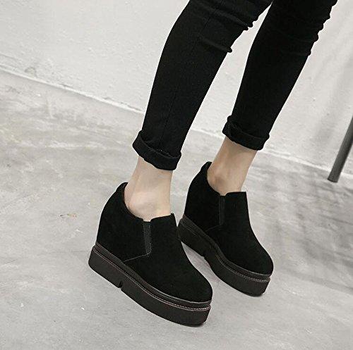 KHSKX-Cuero Fondo Grueso Mayor Coreano Mate Cuero Cuñas Zapatos De Plataforma Zapatos De Ocio Todo El Partido Delgado Baja black