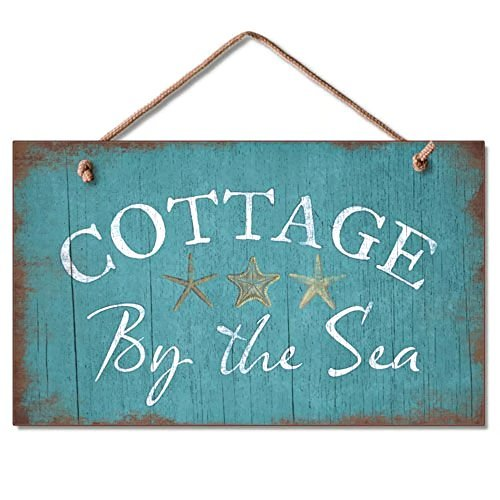 Sea Cottage (Decorative Signs with Sayings Cottage By The Sea Coastal Sign Beach Blue Plaque Wooden Wall Sign Welcome Sign Rustic)