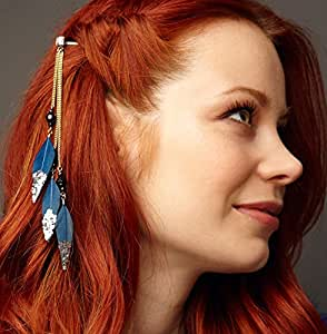New Headdress Indian Feather Hair Ornaments Clip Feathers Tassel Hair Piece RS
