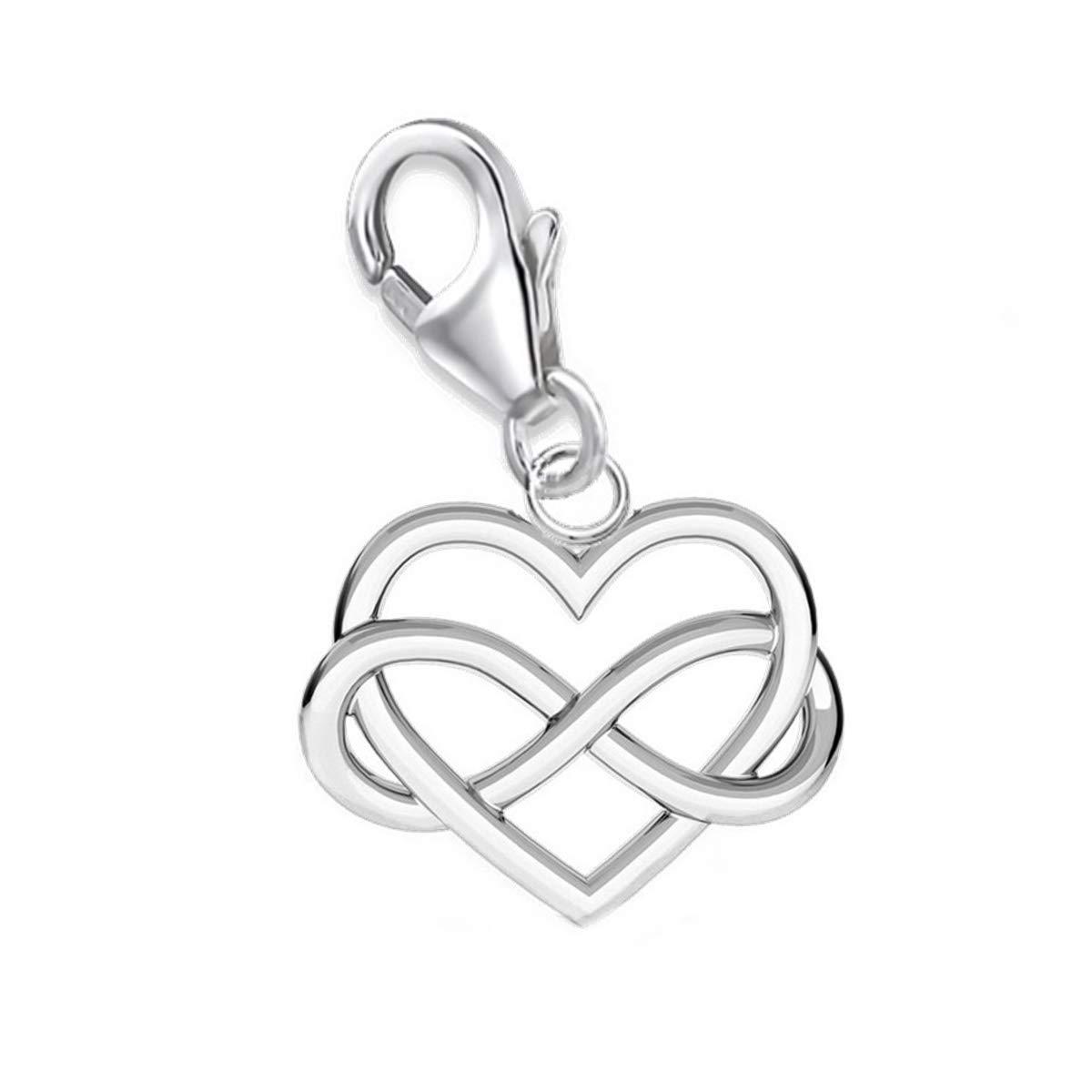 Unendlichkeit Herz Charm 925 Echt Silber Anhänger Damen Mädchen Geschenkidee GH1a AH-0307-02