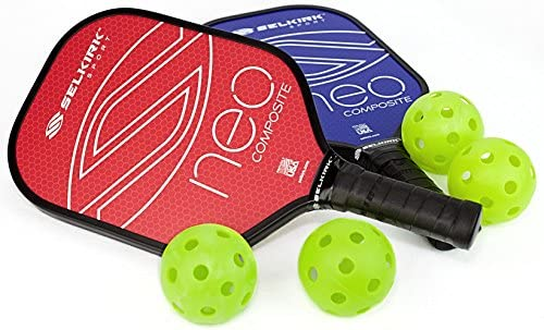 Selkirk NEO Composite Pickleball Paddle Set (2 Paddles + 4 Balls) - USAPA Approved - PowerCore Polymer Core - Composite Surface - EdgeSentry ...
