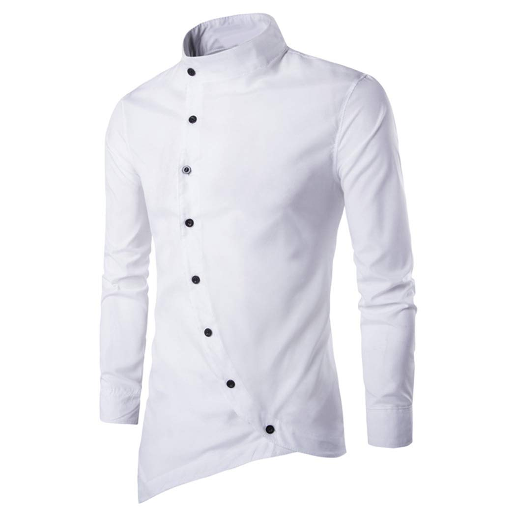 FUNOC Men's Business Shirts Irregular Asymmetric Stand Collar Long Sleeve Shirt